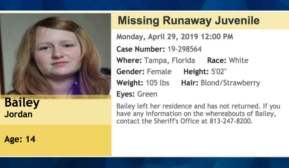 14-year-old girl missing in Florida may be traveling in a