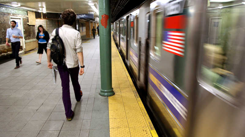 A subway train leaves the Columbus Circle station in New York Wednesday, May 5, 2010. (AP Photo/Craig Ruttle)