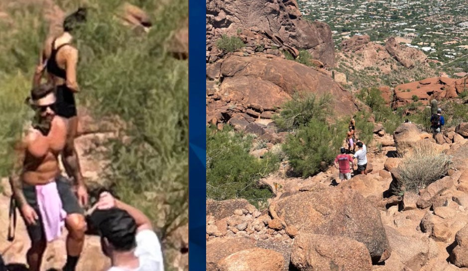 The hikers believe they captures Dario Dizdar and Angela Tramonte, seen in the zoomed-in image (L) Courtesy Hunter Robinson