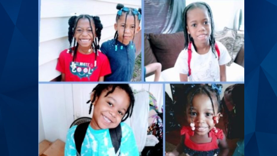 Deontay Dunigan, 7-year-old twins Heaven and Nevaeh Dunigan, 4-year-old Jabari Johnson and 2-year-old Loyal Dunigan.